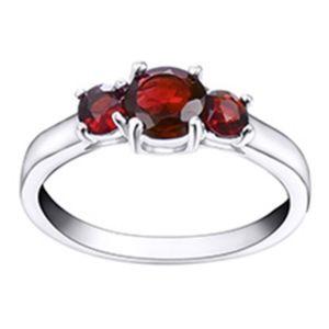 Three Stone Genuine Garnet Ring - 18Kt White Gold